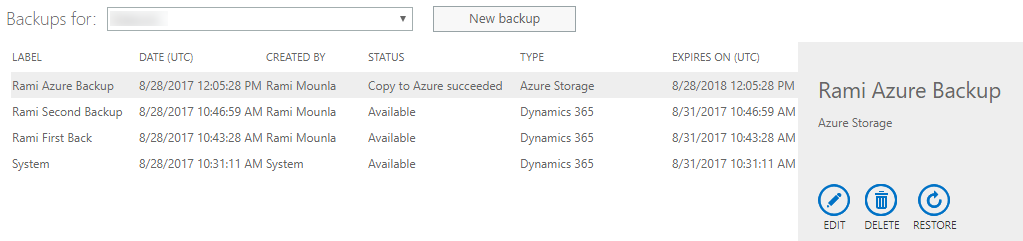 Dynamics 365 Admin Center description with Save to Azure Storage